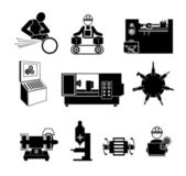Industrial operation.Mechanic icon. — Stock Vector