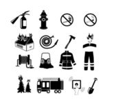 Icons set firefighter — Stock Vector