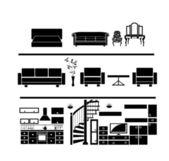 House interior silhouette — Stock Vector