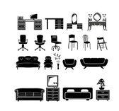 набор силуэтов мебели — Cтоковый вектор
