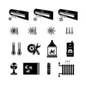 Heating and cooling icons — Stock Vector