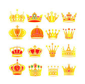 Set gold crowns — Stok Vektör
