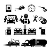 Gasoline station icons and repair auto — Stock Vector