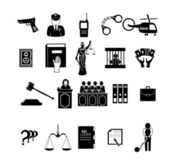 Police, law and justice icons — Stock Vector