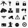 Security and warning icons — Vector de stock