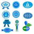 Water badges and stickers — Stock Vector