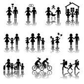 Family. Couple, Tourist icons — Vettoriale Stock