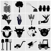 Agriculture and farming icons — Cтоковый вектор