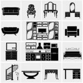 House furniture icons — Stock Vector