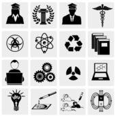Conjunto de iconos de educación y ciencia — Vector de stock