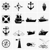 Set di icone di nave e barca — Vettoriale Stock