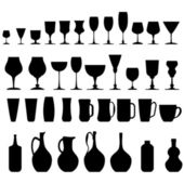Bottle, Glass and Jug Silhouettes — Stock Vector