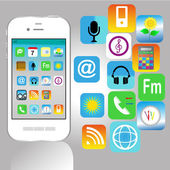 Smart Phone with Cloud of Media Application Icons — Cтоковый вектор