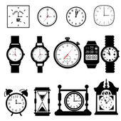 Clocks, time icons set. — Stock Vector