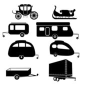 Lorry and trailer silhouettes — Stockvektor