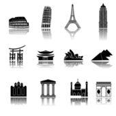 Iconos de edificios — Vector de stock