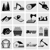 Woodworking and construction icons — Stock Vector