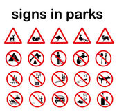 Park prohibited signs and ecology warnings — Stock Vector