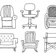 Armchairs set cartoon — Stock Vector