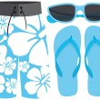 Swimsuit sunglasses and sandals — Vettoriali Stock