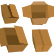 Stock Vector: Set of cardboard boxes