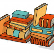 Sketchy bunch of piled books — Stock Vector #23835553