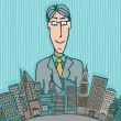 Vector de stock : Giant businessman