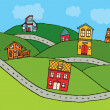 Houses in the country — Imagen vectorial