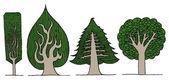 Exotic tree set — Stock Vector