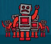 Angry robot mob — Stock Vector