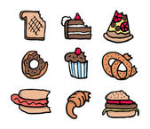 Cartoon bitten food set — Stock Vector