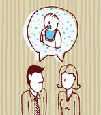 Parents talking about baby. Father, mother, son — Stock Vector