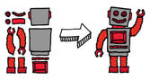 Assembling a robot — Stock Vector