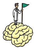 Scientist conquering brain — Stock Vector
