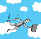 Businessman falling from the sky — Stock Vector