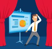 Businessman performing presentation — Stock Vector