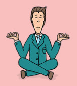 Business meditation. Yoga at work — Stock Vector