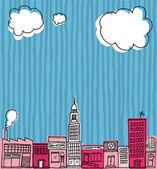Vector Skyline hand drawn Cartoon city or Neighborhood — Stock Vector