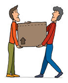 Teamwork moving Carrying box — Stock Vector