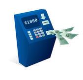 ATM Cash dispenser giving money away — Stock Vector