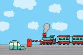Train passing. Railroad crossing — Vecteur
