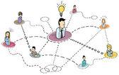 Creative thinking teamwork Idea brainstorming — Stock Vector