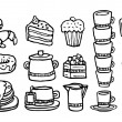 Stock Vector: Coffee and sweet food Handwritten set