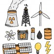 Energy vector icon set. Alternative power generation — Imagens vectoriais em stock