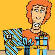 Guy receiving gifts — Stock Vector