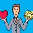 Stock Vector: Businessman choosing between heart and brain