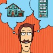 Man choosing where to live - Stock Vector