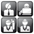 Proffesional at work icon set — Stock Vector