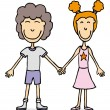 Young couple holding hands in love — Stock Vector