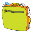 Cartoon suitcase full. Overweight luggage - Imagen vectorial